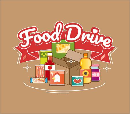 Food Drive movimento di carità alimentare non deperibile, illustrazione di logo del distintivo di vettore Logo
