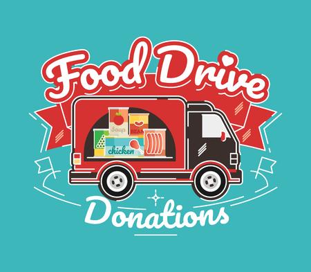 Food Drive non perishable food charity movement, vector badge logo illustration