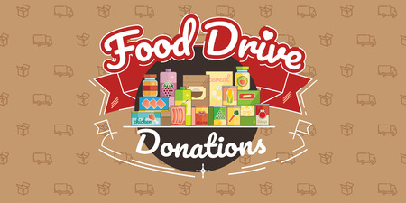 Food Drive non perishable food charity movement, vector badge logo illustration Stock fotó - 93652795