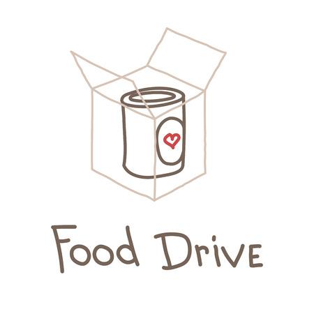 Food Drive movimento di carità alimentare non deperibile, illustrazione di logo del distintivo di vettore