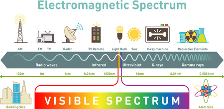 Electromagnetic spectrum infographic diagram, vector illustration.