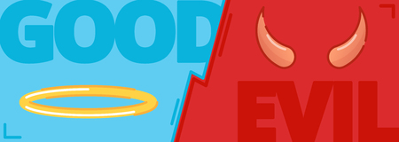 Good and Evil concept, contrast of opposite, flat vector illustration