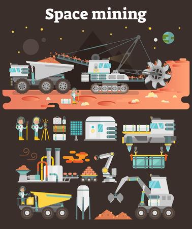 宇宙小惑星マイニングコンセプトイラストと、情報グラフィック資産としての機械、建物、人、機器のセット
