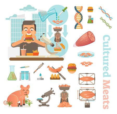 Person eating hamburger made from cultured meat  related laboratory objects and icons set. Çizim