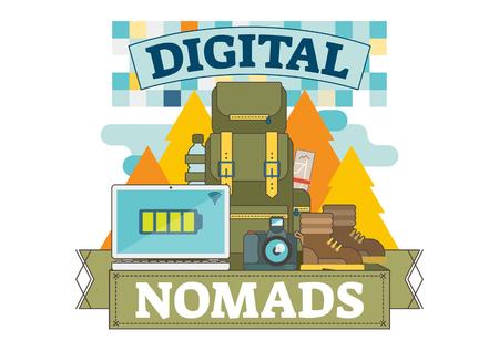 Digital nomads concept illustration, vector logo badge