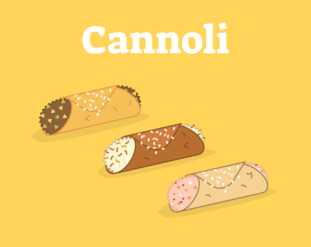 Italian Cannoli siciliani vector illustration set on yellow background.