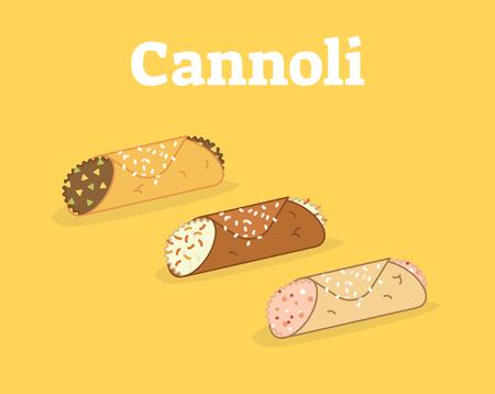Italian Cannoli siciliani vector illustration set on yellow background.