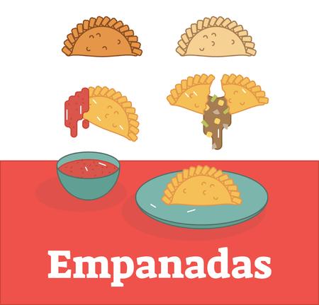 Empanadas flat vector illustration set showing filling and sauce.