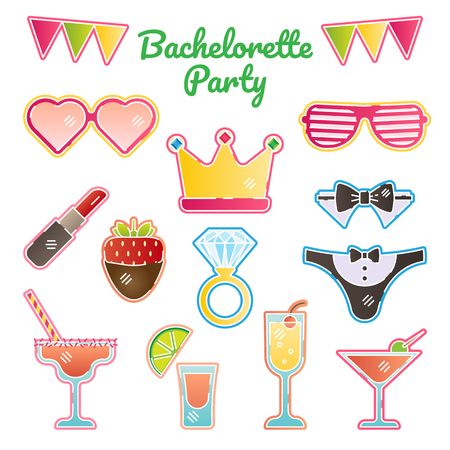 Hen  bachelorette  bride party vector illustration kit. Girls night out vector stickers kit. Bridal party essentials.