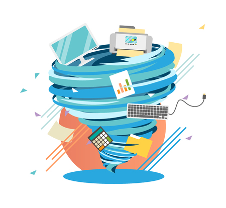 Crazy work life swirl, mad office hurricane, vector illustration.