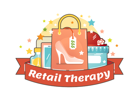 Retail therapy shopping concept, making compulsive purchases in order to improve persons mood. Illustrated vector badge. Ilustracja