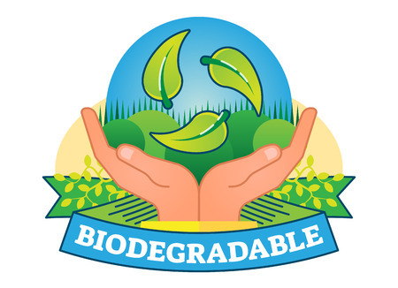 Biodegradable concept vector badge illustration with hands and green leaves. Vettoriali