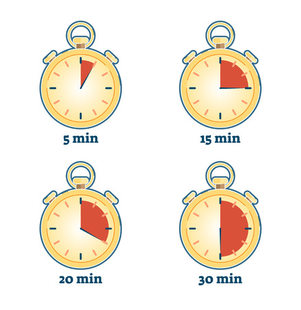 Stopwatch vector illustration set with various timing duration: 5 minutes, 15 minutes, 20 minutes and 30 minutes Illustration