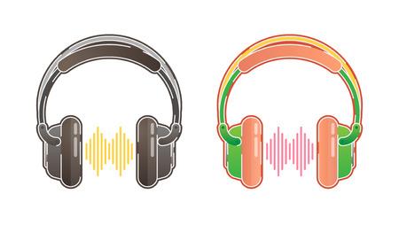 Headphones illustration with equalizer, black and color version
