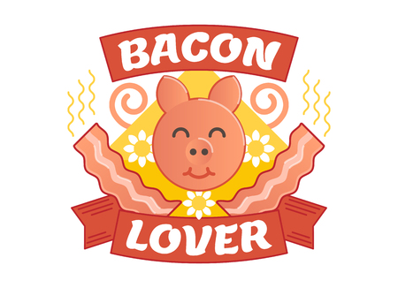 Bacon lover illustrated vector badge with a pig and bacon.
