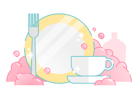 Illustrated dish washing vector icon with plate, fork, cup and pink foam bubbles.