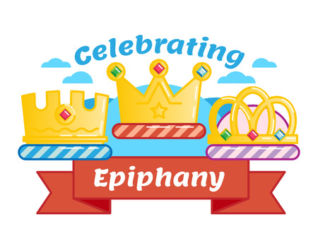 Celebrating Three kings day or Epiphany, illustrated vector icon badge with three crowns and red ribbon.