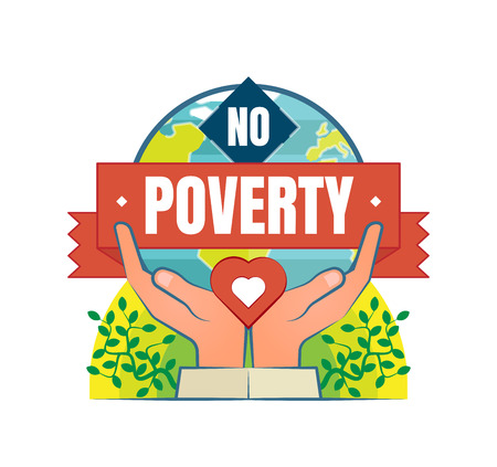 No Poverty vector icon badge with two hands, heart and globe in a background. Illustration