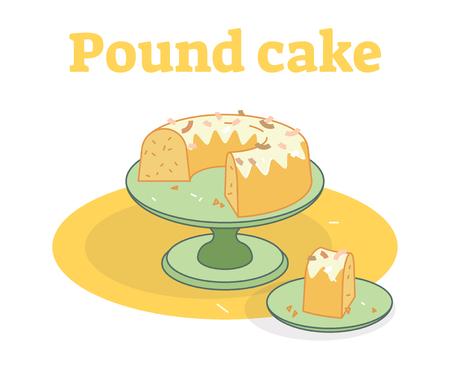 Glazed Pound cake on a plate flat vector illustration
