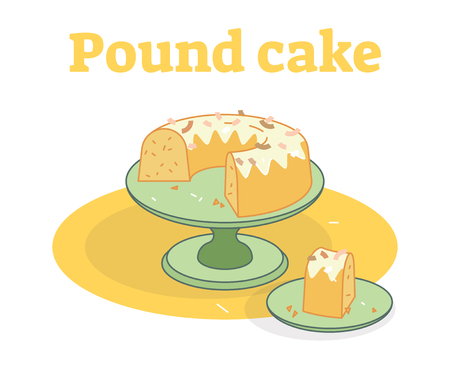 Glazed Pound cake on a plate flat vector illustration