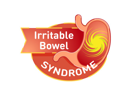 Irritable bowel syndrome (IBS) vector icon badge with stomach in red color.