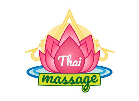 Thai massage vector icon badge with lotus illustration.