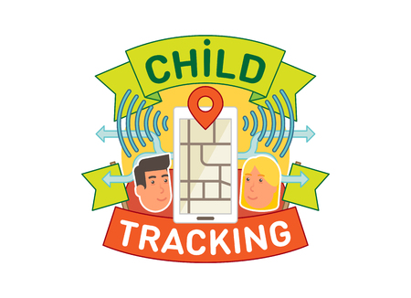 Child tracking concept vector badge illustration with location mobile app two faces and ribbon. Illustration