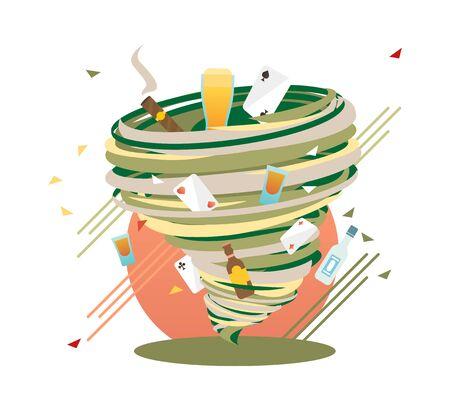 Unstoppable Bad Habits swirl, Addiction Hurricane, vector illustration