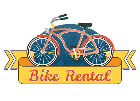 Bike rental vector logo badge with retro bike and yellow ribbon Illustration