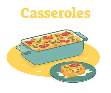 Casserole food vector flat illustration with one piece on a plate Çizim