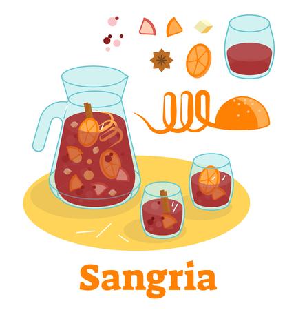 Vectorillustratie met Spaanse traditionele sangria-rode wijndrank met fruit