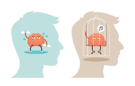 Ilustración de vector de concepto de salud mental con cerebro activo, saludable y restringido, poco saludable. Ilustración de vector