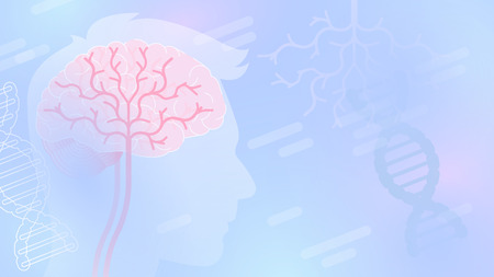 Medical abstract vector background with human head silhouette and human brains, blue color, light shapes.