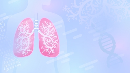 Medical abstract vector background with lungs and bronchial tree, blue color, light shapes. Illustration