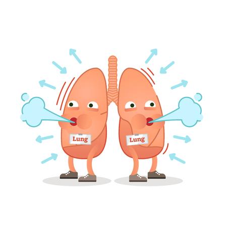 Oddychanie ilustracja wektorowa postać płuc, koncepcyjne oddychanie.