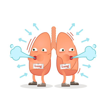 Breathing lungs character vector illustration, conceptual respiration.
