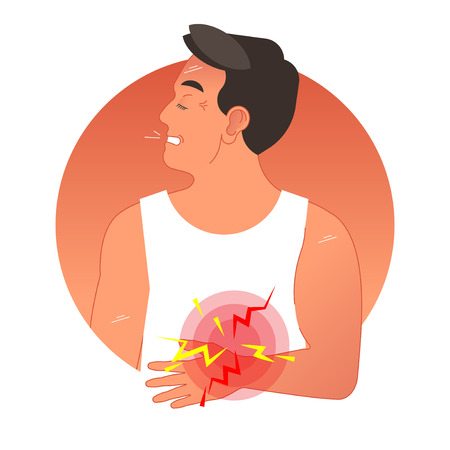 Painful stomach concept vector illustration with human torso. Graphic symbol pain circles. Gastric health problems.