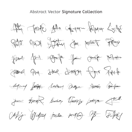 Abstract Vector Signature Collection, Handwritten Unique and Personal Decorative Autographs. Artistic line shapes.  イラスト・ベクター素材