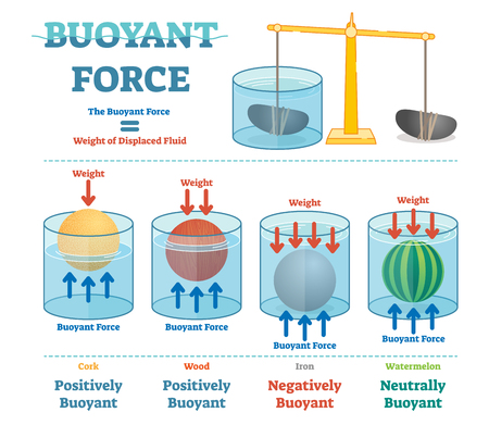 Buoyant force, illustrative educational physics diagram poster.