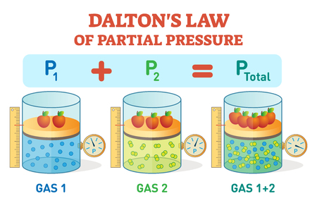 Dalton's law, chemical physics example information poster with partial pressure law.Educational vector illustration with gas pressure equation. Иллюстрация