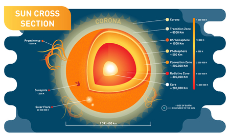 Sun cross section scientific vector illustration diagram with sun inner layers, sunspots, solar flare and prominence. Educational information poster. Stock Illustratie