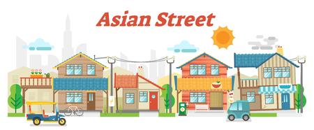 La scena all'aperto della via asiatica casuale della città con le costruzioni ed il trasporto, vector l'illustrazione piana. Archivio Fotografico - 98413914