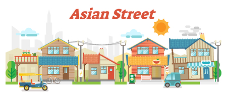 Casual asian town street outdoor scene with buildings and transportation, vector flat illustration.