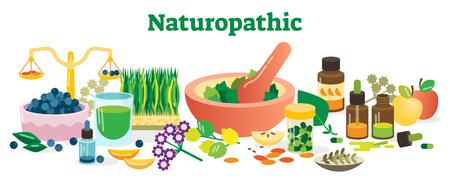 Ilustración de vector de colección de elementos de concepto de salud naturopática con hierbas y sustancias homeopáticas.