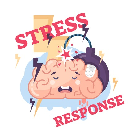 Human stress response system conceptual vector illustration