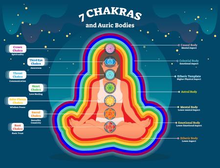 Capas del cuerpo de aura, diagrama de ilustración de vector de energía espiritual con siete chakras. Foto de archivo - 101005225