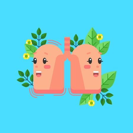 Healthy lungs smiling character, conceptual vector illustration with natural, floral elements. Human health and respiratory system. Illustration