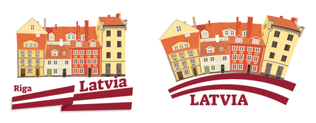 Vector illustration of latvian national and traditional architecture, flag, building, cultural heritage, sightseeing object, ethnic house symbol from baltic country of Latvia in Riga, Europe. 일러스트