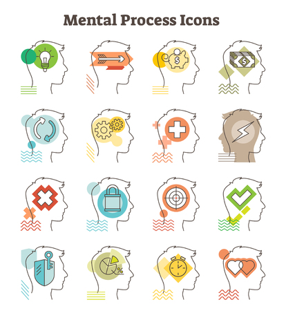 Mental process icons vector illustration. Cross section man with mind in idea, progress, saving, earning, rethinking, brainstorming, love, timing, working. Brain and mind abstract design.