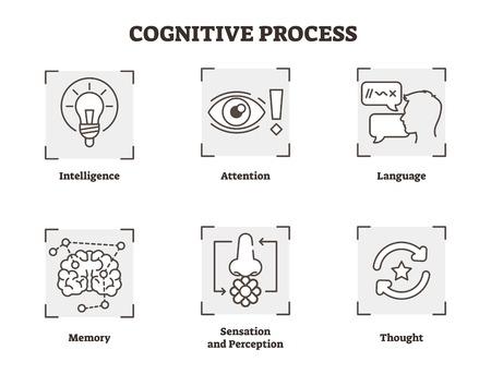 Ilustración de vector de proceso cognitivo. Tipos explicados con esquema de tipos de inteligencia, atención, lenguaje, memoria, pensamiento, sensación y percepción. Conceptos básicos de psicología en diagrama en blanco y negro.